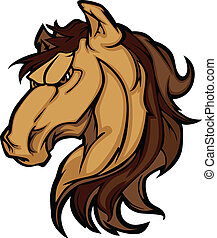 Mustang Stallion Graphic Mascot - Graphic Mascot Icon of a...