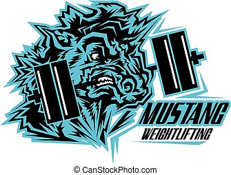 mustang weightlifting team design with mascot and barbell ...