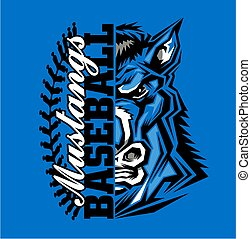 mustangs baseball team design with half mascot for school, ...