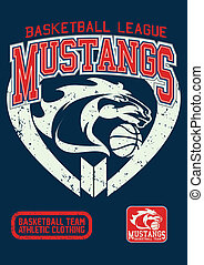 Mustangs basketball league on a navy background.