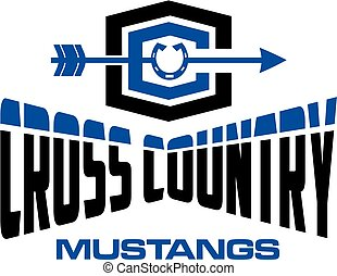 mustangs cross country team design with horseshoe for school...