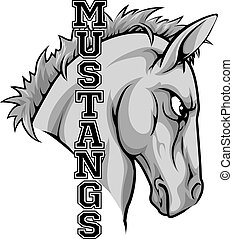 An illustration of a cartoon horse sports team mascot with the text Mustangs