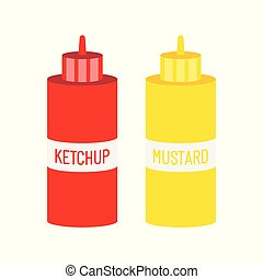 Mustard and ketchup bottle for fast food.