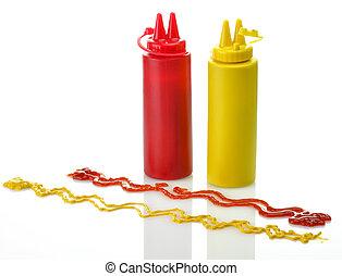 mustard., botellas, salsade tomate