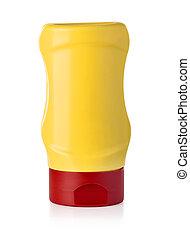 Mustard bottle isolated