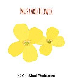 Mustard flower. Organic condiment. Cartoon flat style. Vector illustration