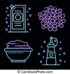 Mustard icons set vector neon