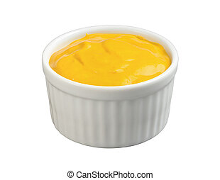 Mustard in a Ramekin isolated with a clipping path