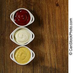 mustard, ketchup and mayonnaise