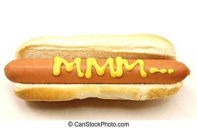mustard., mmm..., chien, long, chaud, écrit, pied