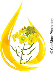 Mustard oil. Stylized drop of oil and mustard flower.