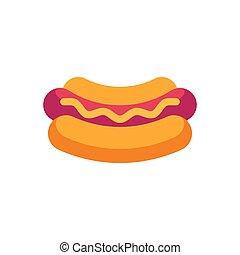 mustard., plat, nourriture, chien, jeûne, chaud, icône
