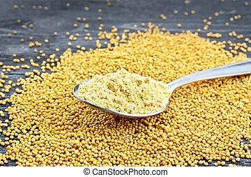 Mustard powder in spoon on black board