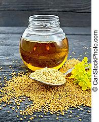 Mustard powder in spoon with oil on board