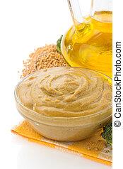 mustard sauce in bowl on white - mustard sauce in bowl...