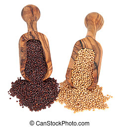 Mustard Seed - Brown and yellow mustard seed spice in olive ...