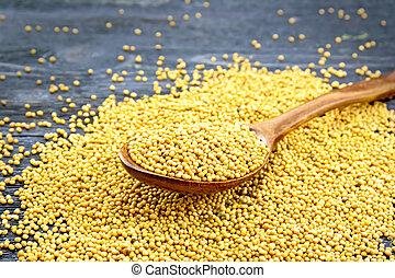 Mustard seeds in spoon on black board