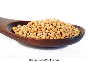 mustard seeds in wooden spoon