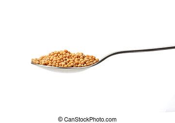 Mustard Seeds - Mustard seeds on a teaspoon isolated on ...