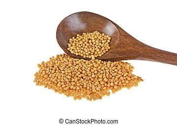 Mustard seeds on wooden spoon isolated on white background
