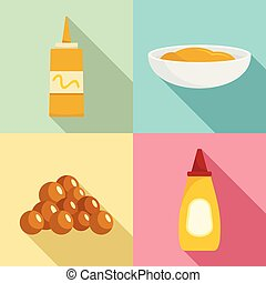 Mustard seeds sauce bottle icons set, flat style