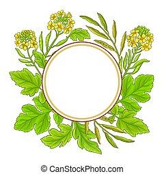 mustard vector frame on white background