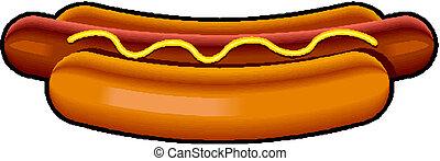 mustard., vettore, hotdog