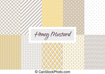 Mustard yellow and taupe geometric seamless vector pattern set. Classic lines, dots, hearts, scale and flowers.