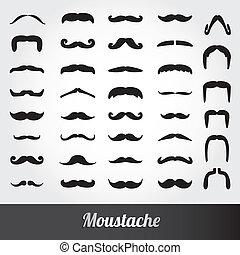 mustasch, vektor, sätta