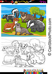 mustelids animals cartoon coloring book - Coloring Book or...
