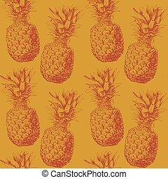 muster, ananas, seamless