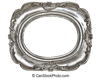 muster, bilderrahmen, silber, dekorativ, oval