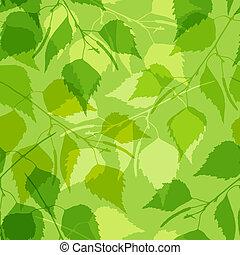 muster, birke, grün, leaves., seamless