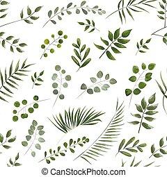muster, blätter, aquarell, hintergrund, grün weiß, style.