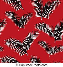 muster, blätter, seamless, schwarzer hintergrund, weiß rot