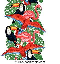 muster, blätter, seamless, tropische , handfläche, vögel