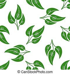 muster, blätter, weißes, grün, seamless