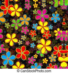 muster, blume, retro, gänseblumen