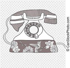 muster, blume, retro, telefon