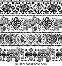 muster, elefant, seamless, stammes-, indische , weinlese, ornaments.