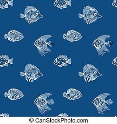 muster, fische, aquarium, markt, blaues, meer, entwerfen farbe, seaquarium, gebrauch, reizend, hintergrund., blue., seamless, geschäfte, plan