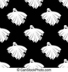 muster, geister, fliegendes, halloween, seamless
