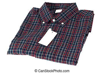 muster, geprüften hemd, rotes