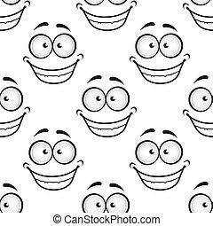 muster, glücklich, seamless, gesicht