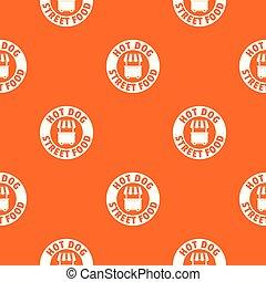 muster, hund, heiß, vektor, stehen, orange