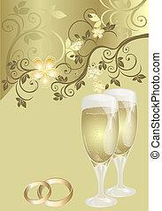 muster, karte, wedding, blumen-