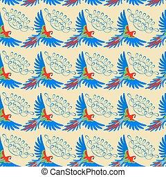 muster, macaw, seamless, papagai