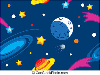 muster, mit, planeten, und, sternen