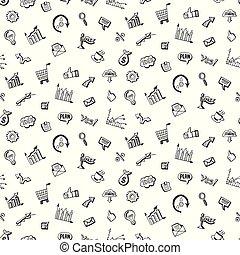 muster, mit, sozial, mittel- geschäft, doodles
