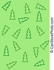 muster, mit, weihnachtsbäume